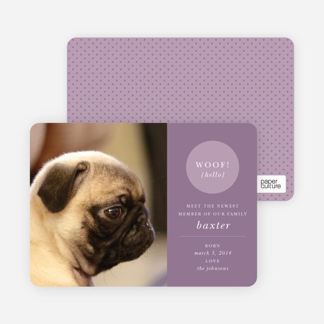 Modern Puppy Announcements - Purple