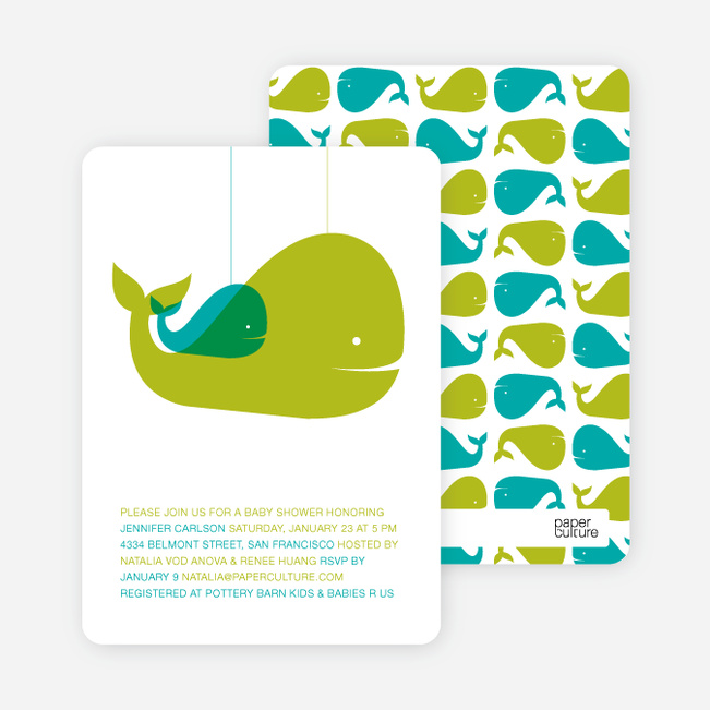 Momma and Baby Whale Baby Shower Invitation - Olive Green