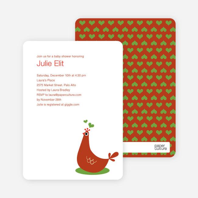 Mother Pheasant Baby Shower Invitation - Red Orange