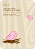 Nesting Bird Baby Shower Invitation - Pink