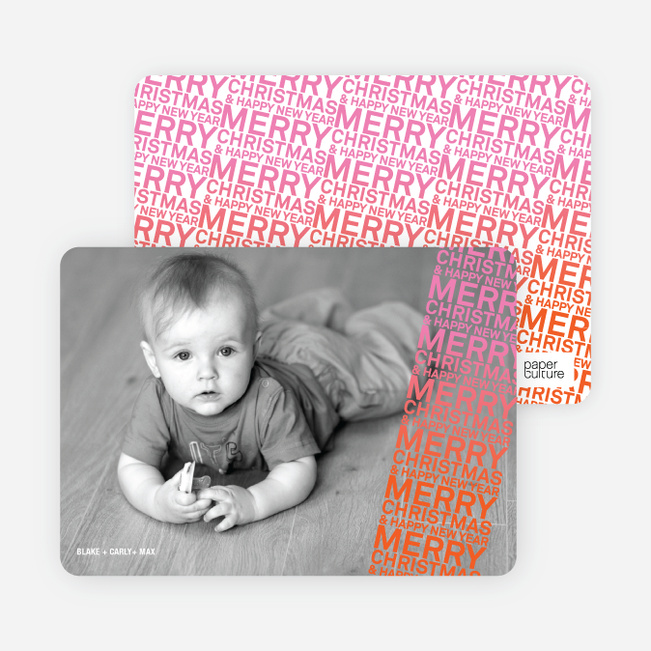 Newsflash Merry Christmas & Happy New Year Photo Cards - Carrot Orange