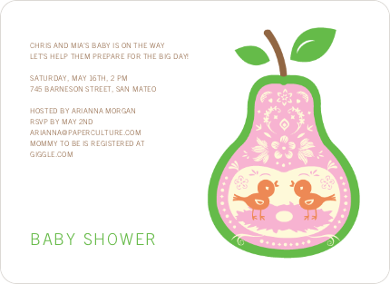 Pear Birds Modern Birthday Invitation - Light Green