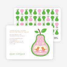 Pear Birds Modern Birthday Invitation - Light Green