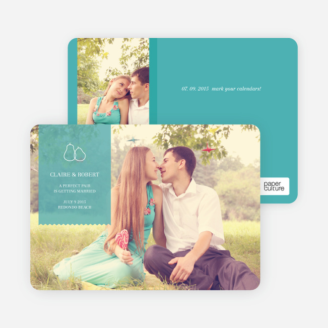 Pear Themed Save the Date Photo Cards - Turquoise