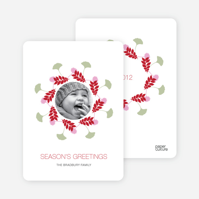 Holiday Cards: Pine Needles and Wreaths - Tomato Red