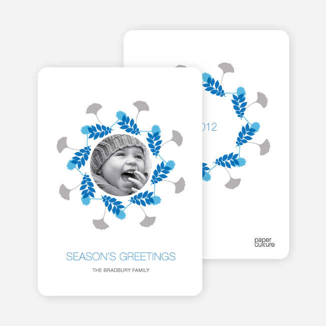 Holiday Cards: Pine Needles and Wreaths - Royal Blue