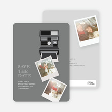 Instant Photo Camera Save the Date Photo Cards - Grey