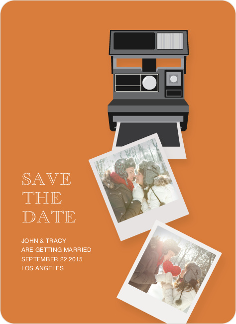 Polaroid Camera Save the Date Photo Cards - Orange