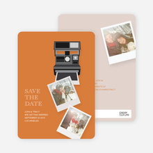 Instant Photo Camera Save the Date Photo Cards - Orange