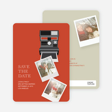 Instant Photo Camera Save the Date Photo Cards - Pink
