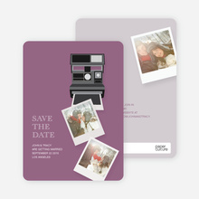 Instant Photo Camera Save the Date Photo Cards - Purple