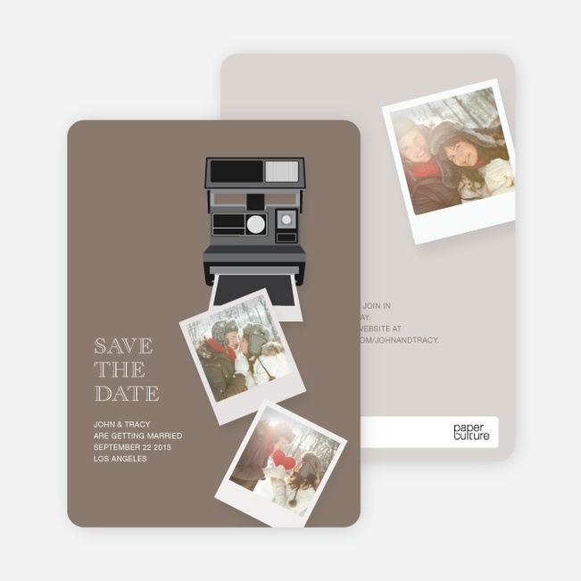 Polaroid Camera Save the Date Photo Cards - Yellow