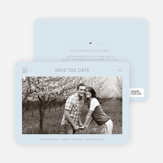 Simple. Classic. Modern. Save the Date Photo Cards - Lazy Blue