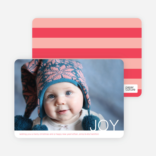 Simple Joy Holiday Photo Cards - Tomato Red