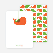 Momma and Baby Whale Mobile: Thank You Cards - Tangerine