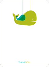 Momma and Baby Whale Mobile: Thank You Cards - Bamboo