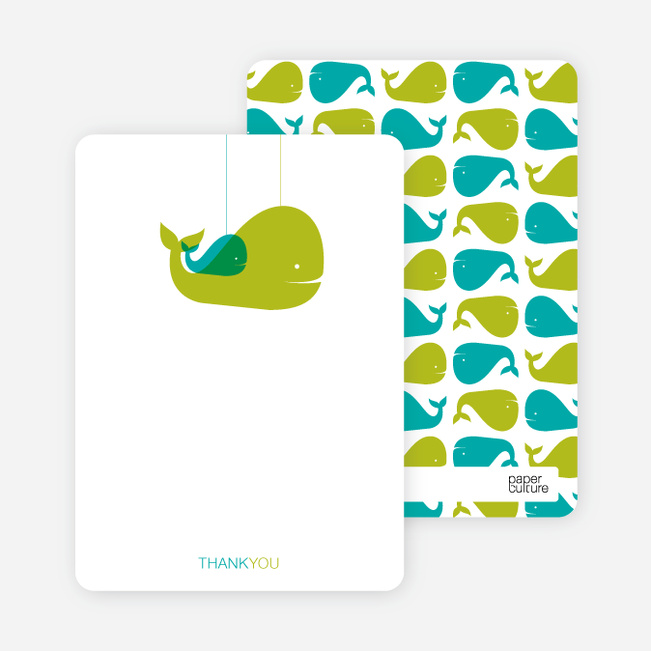 Thank You Card for Momma and Baby Whale Baby Shower Invitation - Bamboo