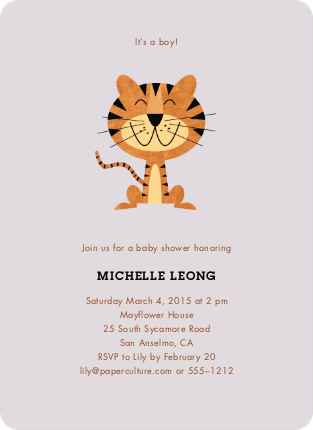 Tiger Baby Shower Invitations - Powdery Lilac