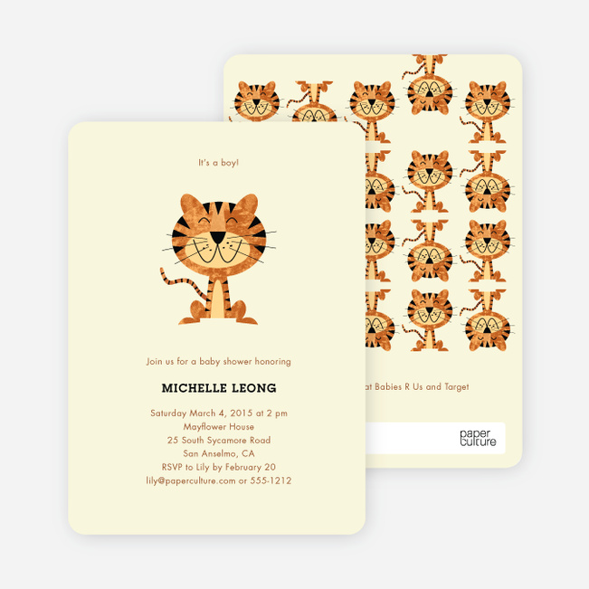 Tiger Baby Shower Invitations - Ecru