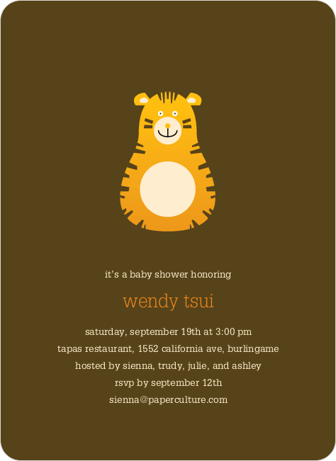 Tiger Chew Toy Year of the Tiger Baby Shower Invitation - Tangerine