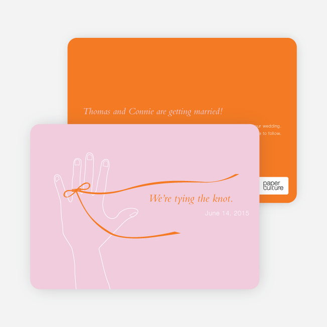 We're Tying the Knot Save the Date Cards - Pink Surprise