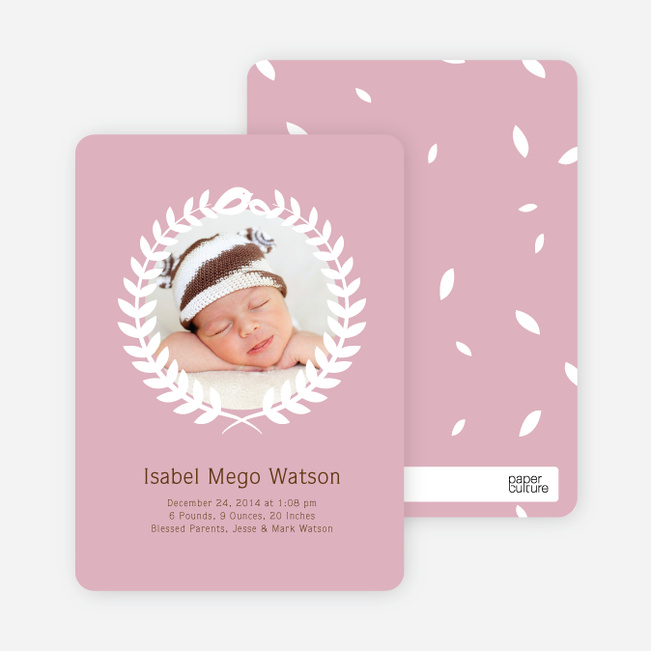 Wreath Themed Birth Announcements Bring Success and Prosperity - Pink