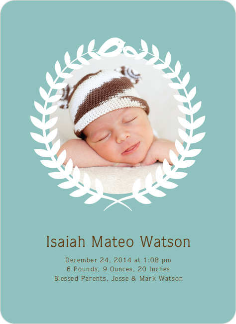 Wreath Themed Birth Announcements Bring Success and Prosperity - Blue