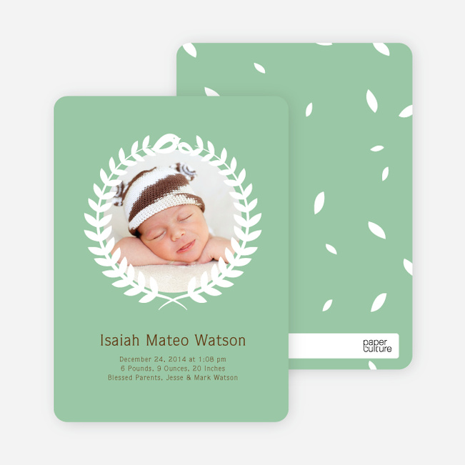 Wreath Themed Birth Announcements Bring Success and Prosperity - Green