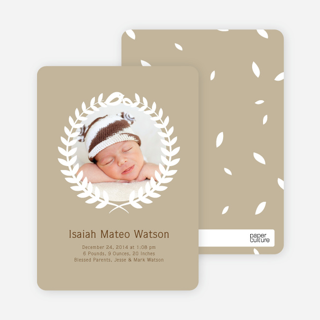 Wreath Themed Birth Announcements Bring Success and Prosperity - Brown