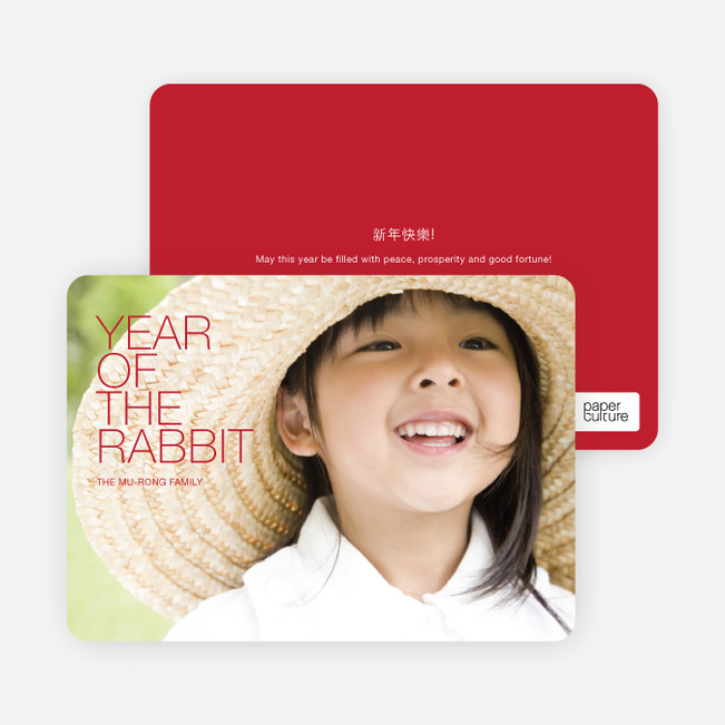 Year of the Rabbit Photo Cards, Bold and Modern - Pomegrante