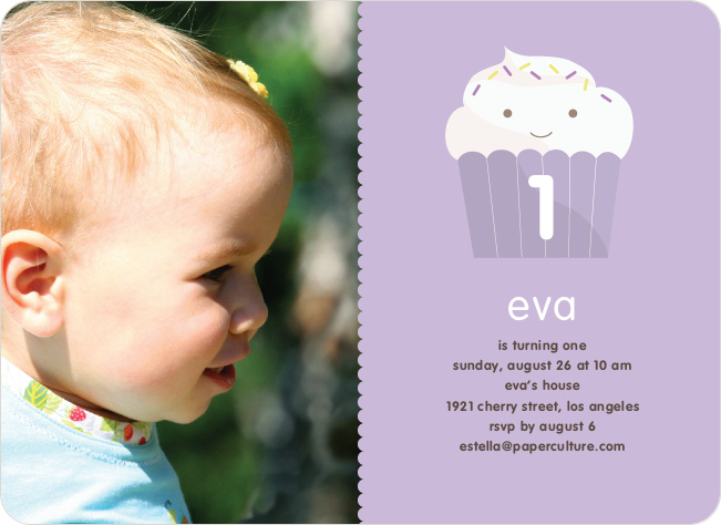 Cupcake Birthday Party Photo Invitation - Lavender