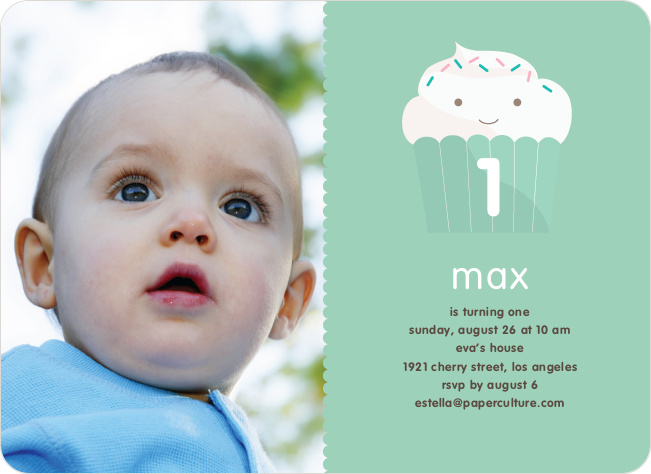 Cupcake Birthday Party Photo Invitation - Bamboo Green