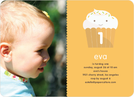 Cupcake Birthday Party Photo Invitation - Mustard Yellow
