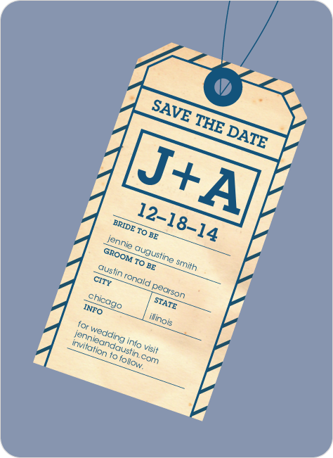 Destination Wedding Save the Date Cards - Blueberry