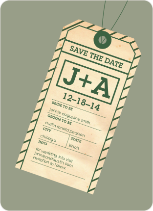 Destination Wedding Save the Date Cards - Forest Green