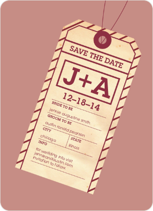 Destination Wedding Save the Date Cards - Crimson