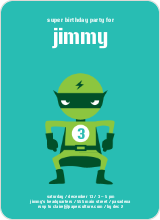 Green Avenger Super Hero Birthday Invitation - Teal