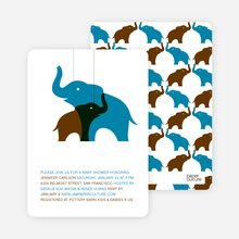Momma and Baby Elephant Baby Shower Invitation - Cyan