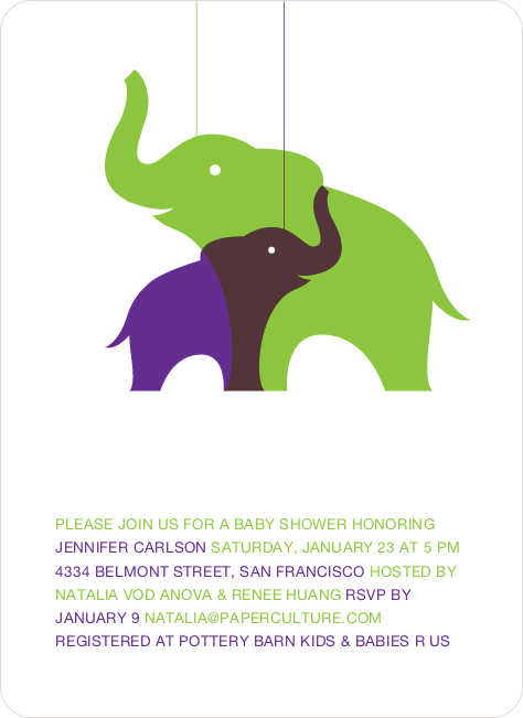 Momma and Baby Elephant Baby Shower Invitation - Orange