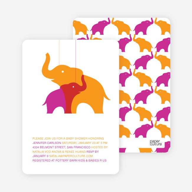 Momma and Baby Elephant Baby Shower Invitation - Orange