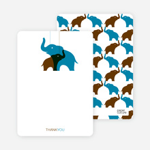 Momma and Baby Elephant Mobile: Thank You Cards - Cadet Blue