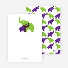 Momma and Baby Elephant Mobile: Thank You Cards - Apple Green
