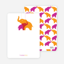 Momma and Baby Elephant Mobile: Thank You Cards - Orange