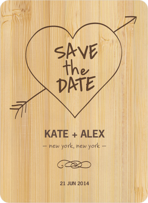 Tree Carving Save the Date Cards - Bamboo