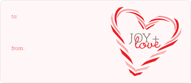 Candy Cane Joy & Love Tags - Pink