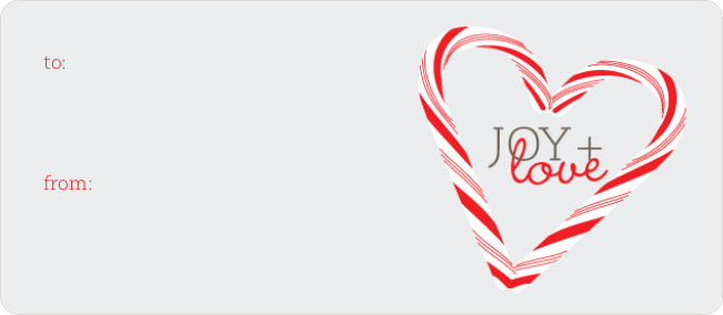 Candy Cane Joy & Love Tags - Purple