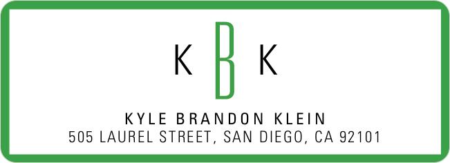 Modern Monogram Custom Address Labels - Green