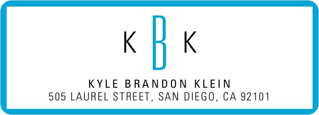 Modern Monogram Custom Address Labels - Blue