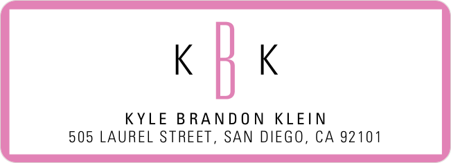 Modern Monogram Custom Address Labels - Pink
