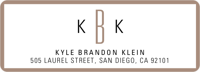 Modern Monogram Custom Address Labels - Brown